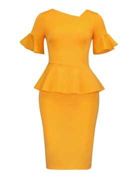 Ericdress Yellow Short Sleeve V Back Women's Sheath Dress