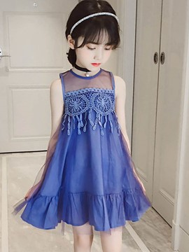 Ericdress Mesh Lace A-Line Girl's Sleeveless Dress