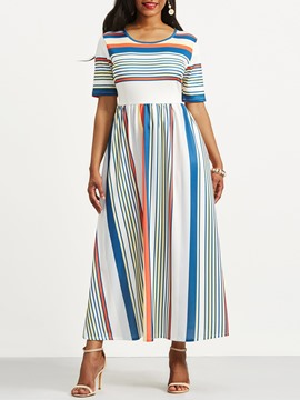 Ericdress Half Sleeve Stripe Color Block Women's Maxi Dress
