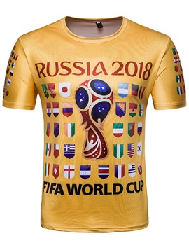 Men's Clothing Golden Russia World Cup Print Scoop T Shirt