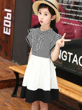 Ericdress Stripe Color Block Pleated Girl's Casual Dress