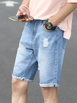 Ericdress Thin Straight Inelastic Mens Summer Denim Shorts