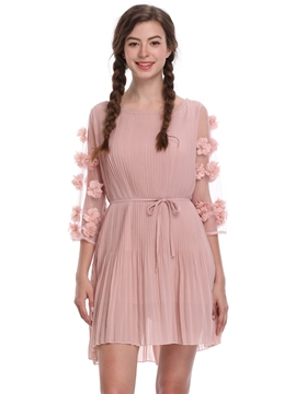 Ericdress Pink Appliques Patchwork Scoop A-Line Dress