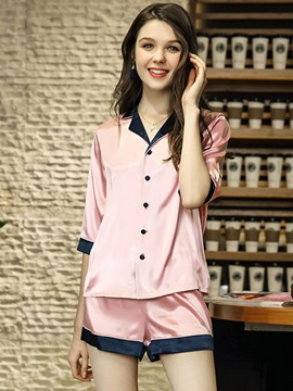 Ericdress Lapel Half Sleeve Single-Breasted Charmeuse Sleepwear