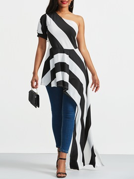 Ericdress Stripe Color Block Asymmetric Short Sleeve Tee
