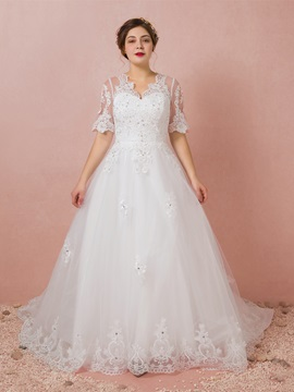 Ericdress Half Sleeves Plus Size Wedding Dress