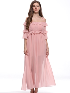 Ericdress Pink Ruffles Off-The-Shoulder Casual Dress