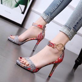 Ericdress Woven Line-Style Buckle Stiletto Sandals