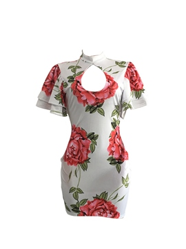 Ericdress Floral Cap Ruffle Sleeve Vintage Bodycon Dress