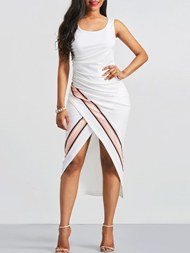 Ericdress Asymmetric Stripe Color Block Sheath Dress