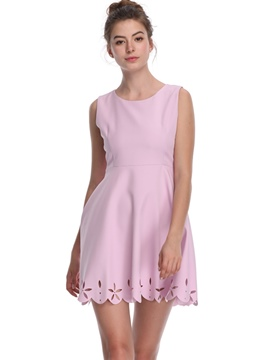 Ericdress Pink Hollow Sleeveless Above Knee A-Line Dress