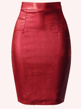 Ericdress Bodycon Knee-Length PU Plain High Waist Skirt