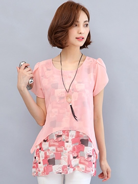 Ericdress Double-Layer Casual Chiffon Floral Tee Shirt