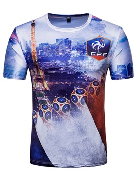 Men's Clothing Light Blue World Cup Printed Scoop T Shirt