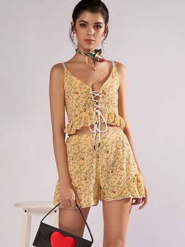Ericdress Print Vest and Shorts Lace-Up Women's Two Piece Set