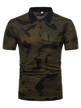 Ericdress Camouflage Lapel Short Sleeve Mens Polo T Shirt