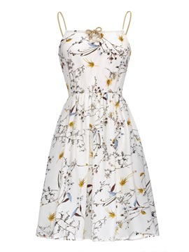 Ericdress White Floral Standard-Waist Lace-Up A-Line Dress