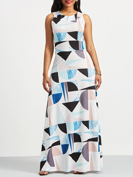 Ericdress Geometric Color Block Pocket Maxi Dress
