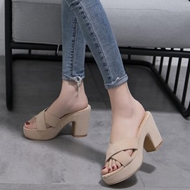 Ericdress Slip-On Platform Chunky Heel Mules Shoes