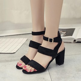 Ericdress Buckle Strappy Plain Chunky Sandals
