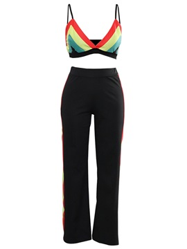 Ericdress Color Block V-Neck Vest and Pants Women's Two Piece Set