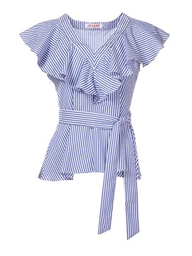 Ericdress Women's Falbala Stripe Short Sleeve Blouse