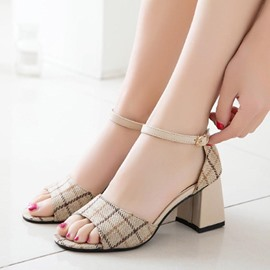 Ericdress Plaid Line-Style Buckle Chunky Sandals
