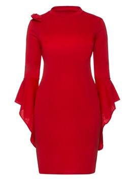 Ericdress Red Flare Sleeve Ruffles Bowknot Bodycon Dress