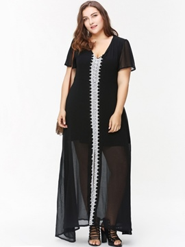 Ericdress V-Neck See-Through Patchwork Plusee Casual Dress