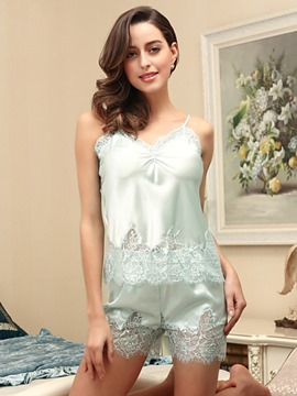 Ericdress Pleated Sleeveless Lace Short Sleepwear