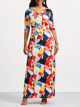 Ericdress Yellow V-Neck Geometric Color Block Maxi Dress