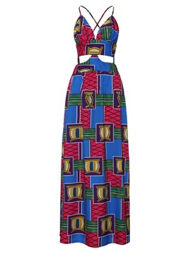 Ericdress Hollow Backless Geometric Color Block Maxi Dress