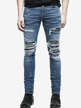 Ericdress Pleated Skinny Ripped Pencil Jeans