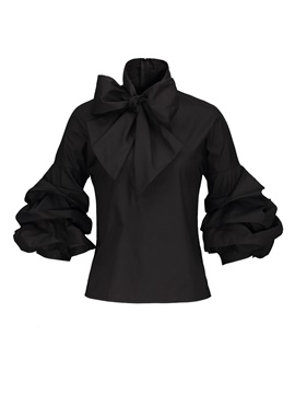 Ericdress Women's Pleated Bowknot Long Sleeve Blouse