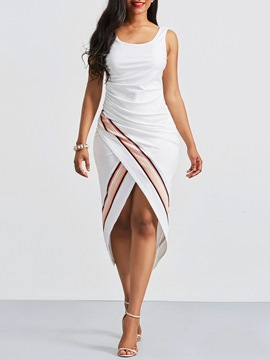ericdress asymétrique stripe robe fourreau