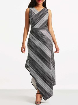 Ericdress Geometric Asymmetrical Mid-Calf Women's Maxi Dress