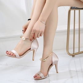 Ericdress Beads Heel Covering Open Toe Stiletto Sandals