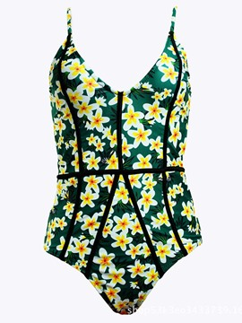 Ericdress Floral Spaghetti Strap One Piece Bathing Suits