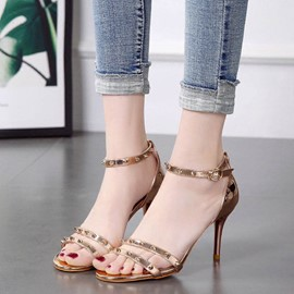 Ericdress Rivet Line-Style Buckle Plain Stiletto Sandals