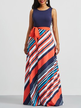 Ericdress Stripe Color Block Patchwork Lace-Up Maxi Dress