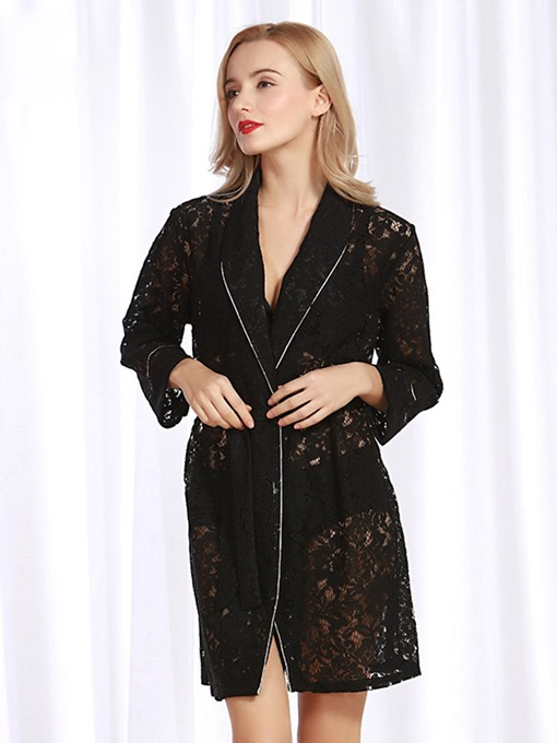 Ericdress Lace Loose Hollow Lace-Up Long Sleeve Sexy Night Robe