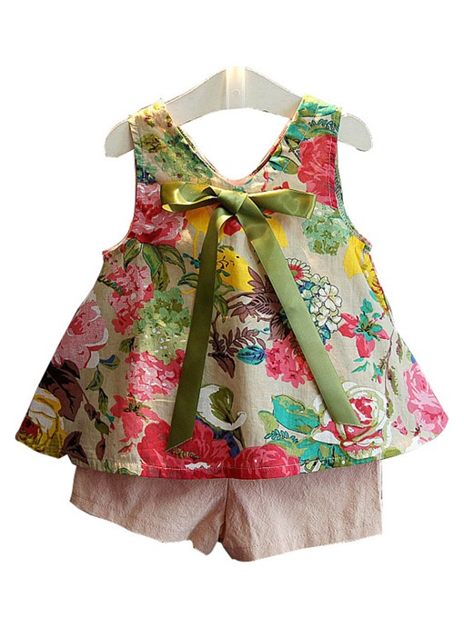 Ericdress Floral Print Sleeveless T Shirts Pants Girl's Outfits