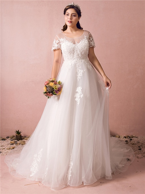 Ericdress A Line Appliques Plus Size Wedding Dress