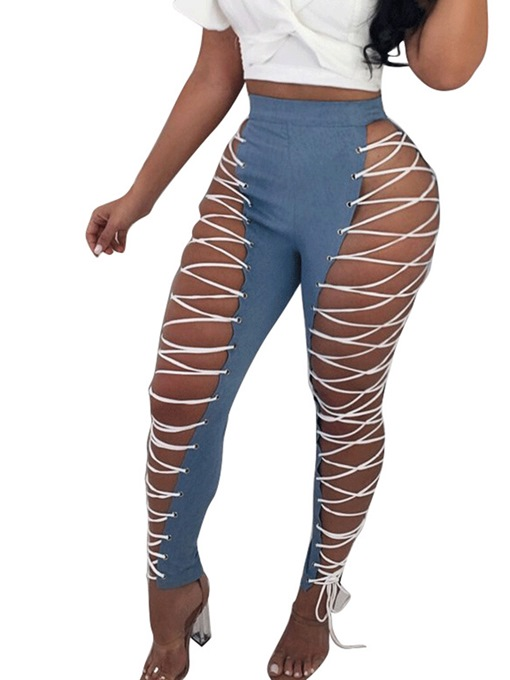 Ericdress Skinny PU Plain Stripe Women's Leggings