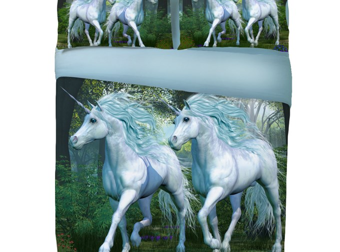 Vivilinen 3D Running Couple Unicorn Printed Cotton 4-Piece Bedding Sets/Duvet Covers