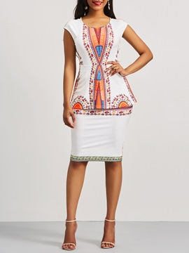 Ericdress Dashiki Ethnic Print Cap Sleeve Women's Bodycon Dress