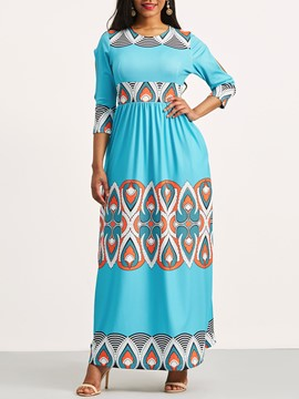 Ericdress Dashiki Ethnic Print Scoop Expansion Maxi Dress