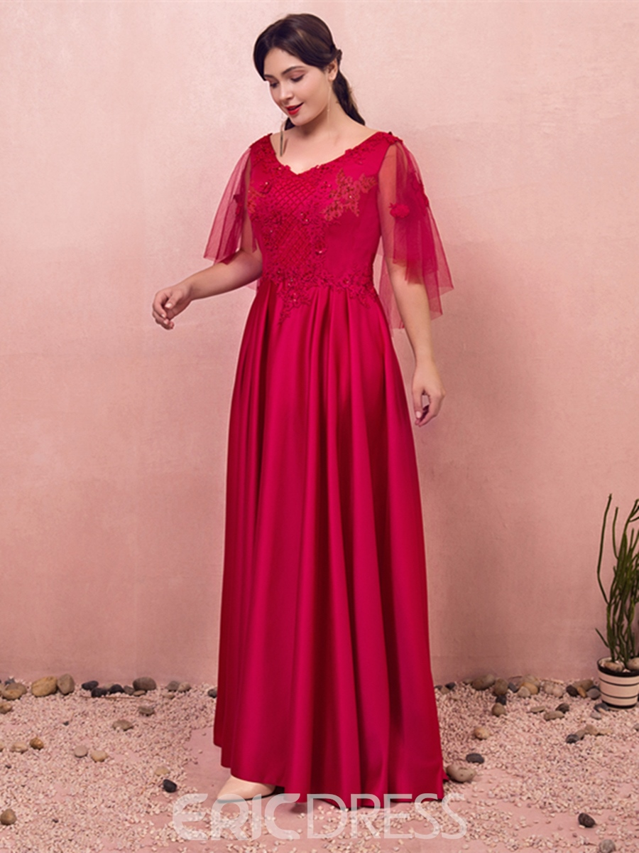 Ericdress A Line Plus Size Evening Dress with Sleeves