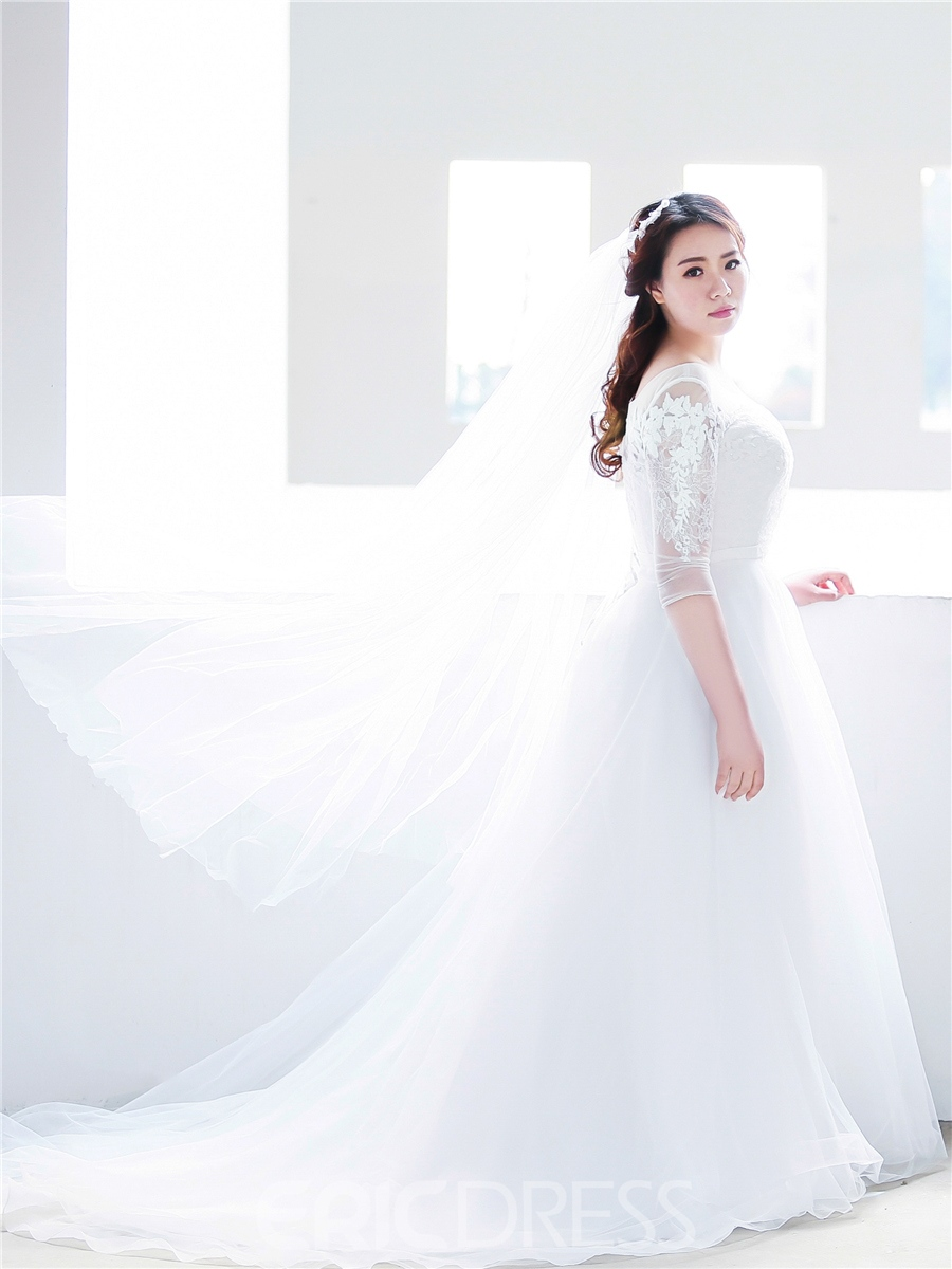 Ericdress A Line Plus Size Wedding Dress with Sleeves