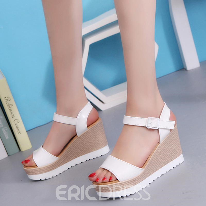 Ericdress Buckle Ankle Strap Plain Wedge Sandals